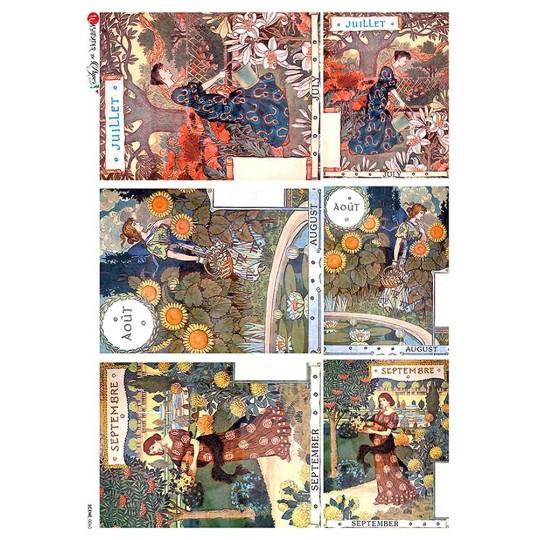 Art Deco Summer Women Rice Paper Decoupage Sheet ~ Italy