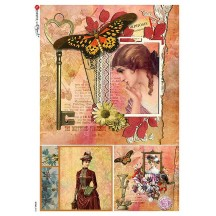 Victoriana Butterfly Ephemera Collage Rice Paper Decoupage Sheet ~ Italy