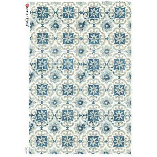 Blue Tiles Rice Paper Decoupage Sheet ~ Italy