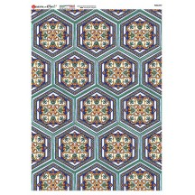 Blue Colorful Hexagonal Tiles Rice Paper Decoupage Sheet ~ Italy