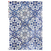 Blue Portugese Tiles Rice Paper Decoupage Sheet ~ Italy