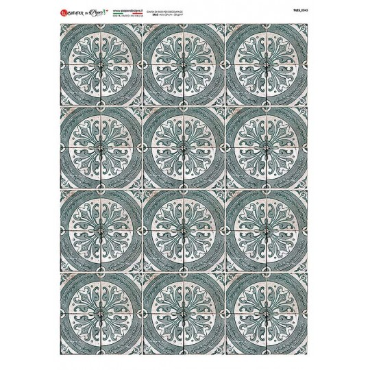 Circular Tile Pattern Rice Paper Decoupage Sheet ~ Italy