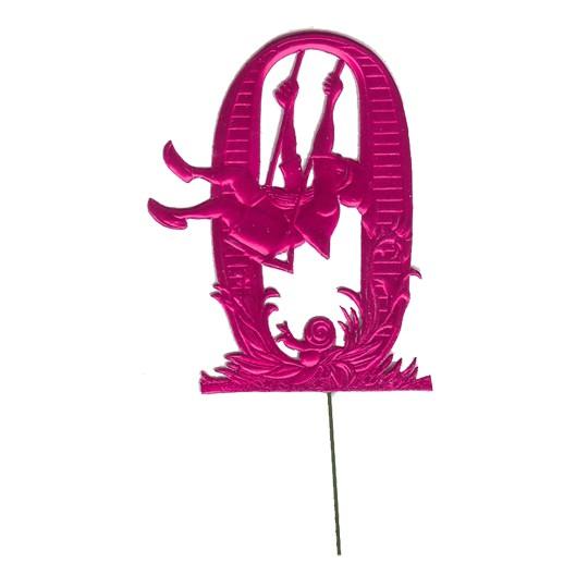 Fuchsia Dresden Foil Number Zero ~ Swinging Gnome