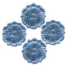 Steel Blue Dresden Foil Medallions ~ 24