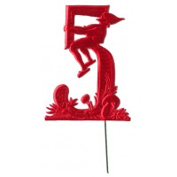 Red Dresden Foil Number Five ~ Sitting Gnome