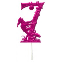 Fuchsia Dresden Foil Number Seven ~ Gnome Picking Apples