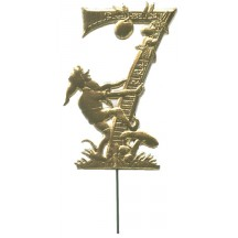 Gold Dresden Foil Number Seven ~ Gnome Picking Apples