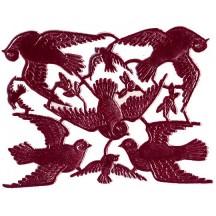 Burgundy Dresden Foil Doves ~ 8 Asst.