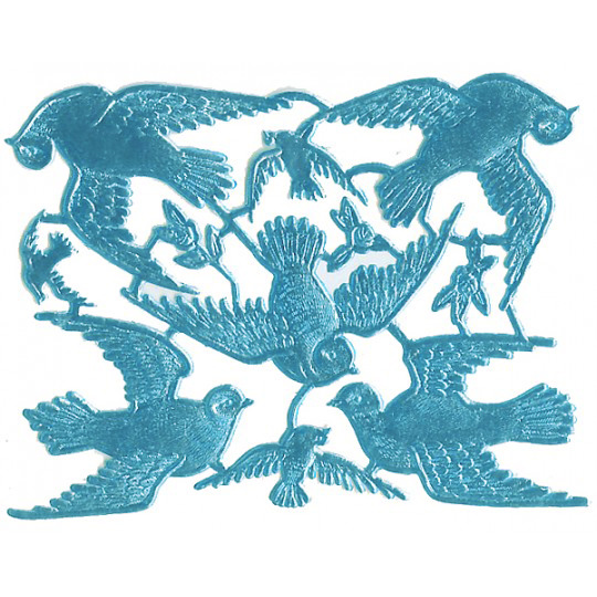 Light Blue Dresden Foil Doves ~ 8 Asst.