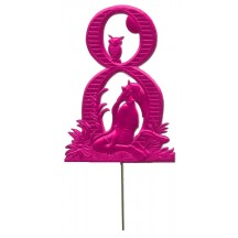 Fuchsia Dresden Foil Number Eight ~ Gnome & Owl