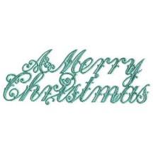 Large Aqua Foil Merry Christmas Scripts ~ 6