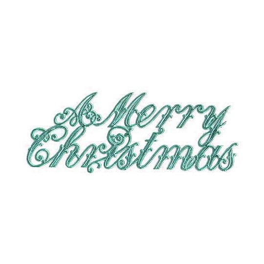 Large Aqua Foil Merry Christmas Scripts ~ 6