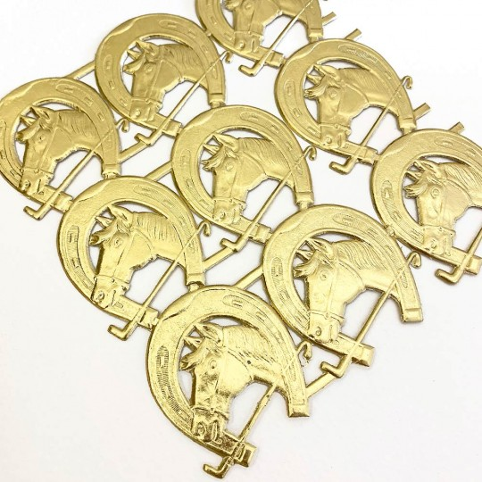 Gold Dresden Foil Horse and Horseshoe Equestrian Die-Cuts ~ 9