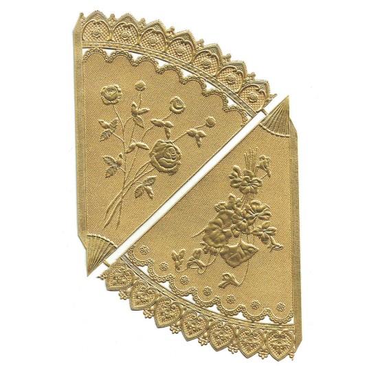 Gold Dresden Foil Floral Cornucopia Cones ~ 2
