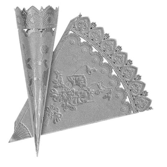 Silver Dresden Foil Floral Cornucopia Cones ~ 2
