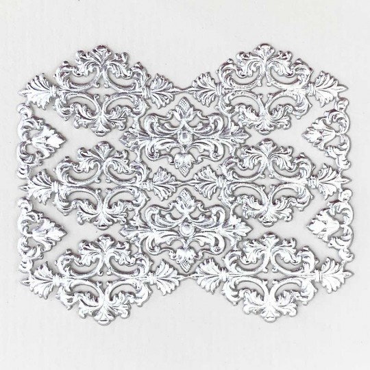Silver Dresden Foil Ornate Flourishes  and Corners ~ 12