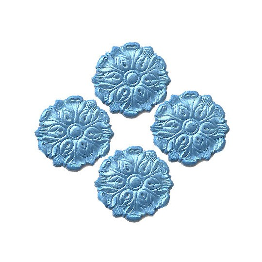 Light Blue Dresden Foil Medallions ~ 24