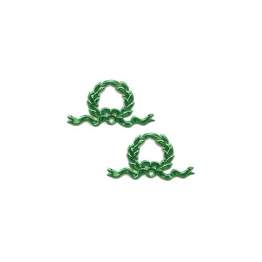 Green Dresden Foil Christmas Wreaths ~ 12