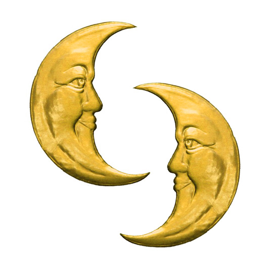 Extra Large Gold Dresden Foil Moons ~ 2
