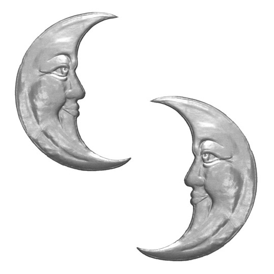 Extra Large Silver Dresden Foil Moons ~ 2