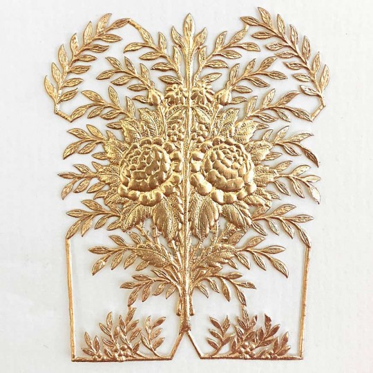 Fancy Antique Gold Dresden Foil Rose Bush ~ 1