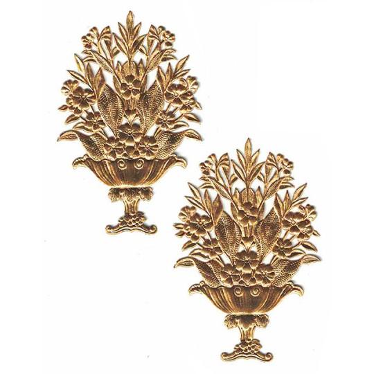 Fancy Antique Gold Dresden Foil Flower Baskets ~ 2