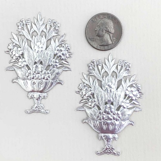 Fancy Silver Dresden Foil Flower Baskets ~ 2