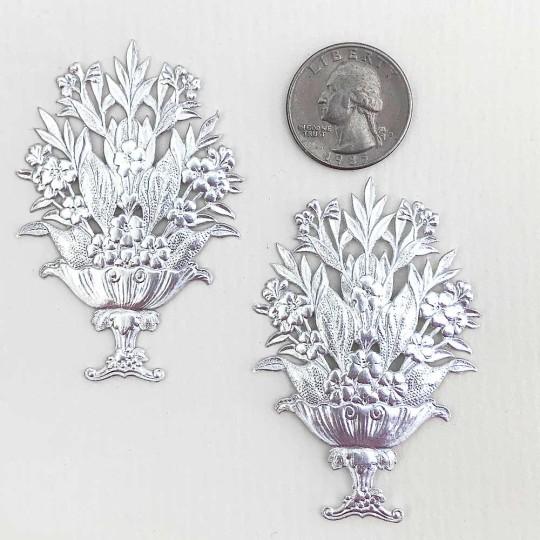 Fancy Silver Dresden Foil Flower Baskets ~ 2
