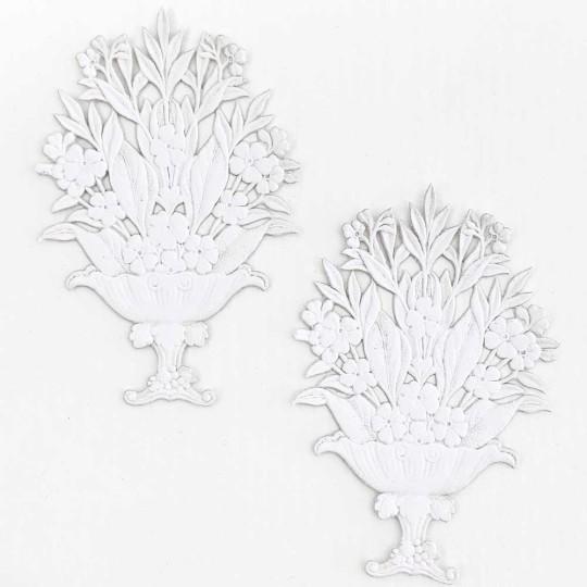 Fancy White Paper Dresden Flower Baskets ~ 2