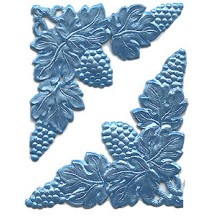 Extra Fancy Light Blue Dresden Foil Corners with Grapes and Leaves ~ 4