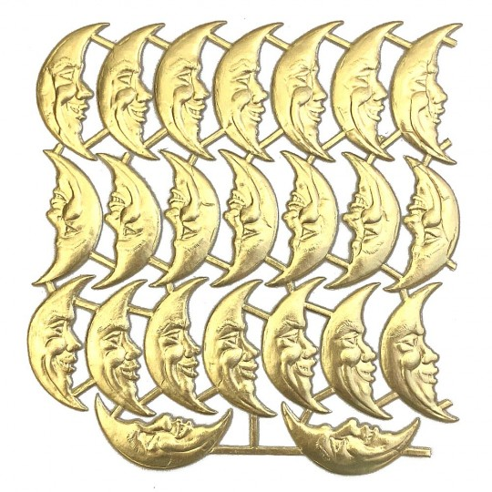Gold Dresden Foil Smiling Moons ~ 23