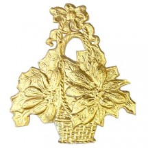 Gold Dresden Foil Fancy Poinsettia Flower Baskets ~ 12