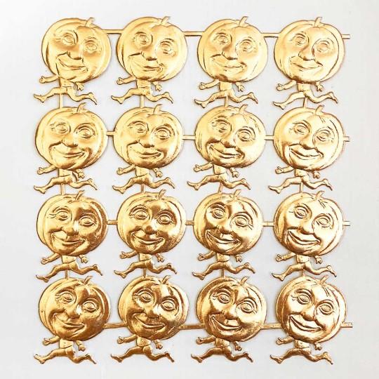 Antique Gold Dresden Running Pumpkins ~ 16