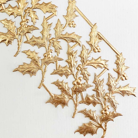 Antique Gold Dresden Foil Holly Branches ~ 6
