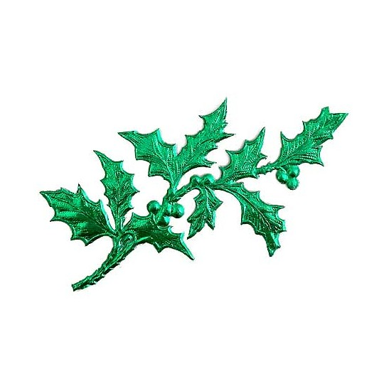 Green Dresden Foil Holly Branches ~ 6