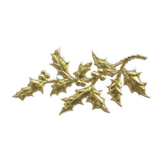 Gold Dresden Foil Holly Branches ~ 6