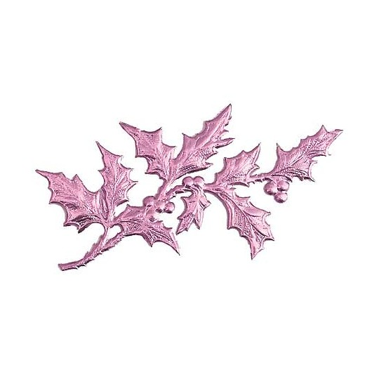 Pink Dresden Foil Holly Branches ~ 6