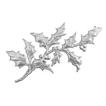 Silver Dresden Foil Holly Branches ~ 6