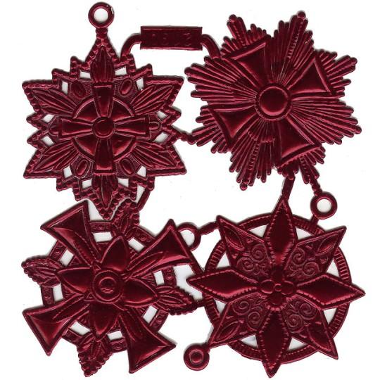 Large Burgundy Dresden Foil Medallions ~ 4 Assorted