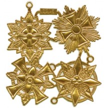 Large Gold Dresden Foil Medallions ~ 4 Assorted