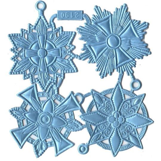 Large Light Blue Dresden Foil Medallions ~ 4 Assorted