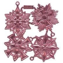 Large Pink Dresden Foil Medallions ~ 4 Assorted