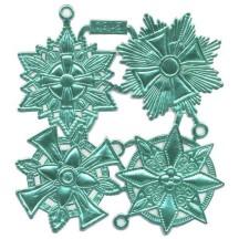 Large Aqua Dresden Foil Medallions ~ 4 Assorted