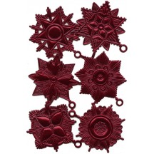 Large Burgundy Dresden Foil Medallions ~ 6 Assorted