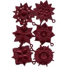 Large Burgundy Dresden Foil Medallions ~ 6 Assorted