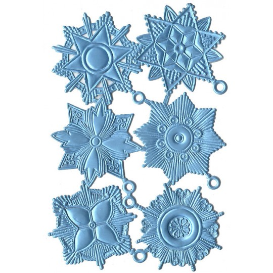 Large Light Blue Dresden Foil Medallions ~ 6 Assorted