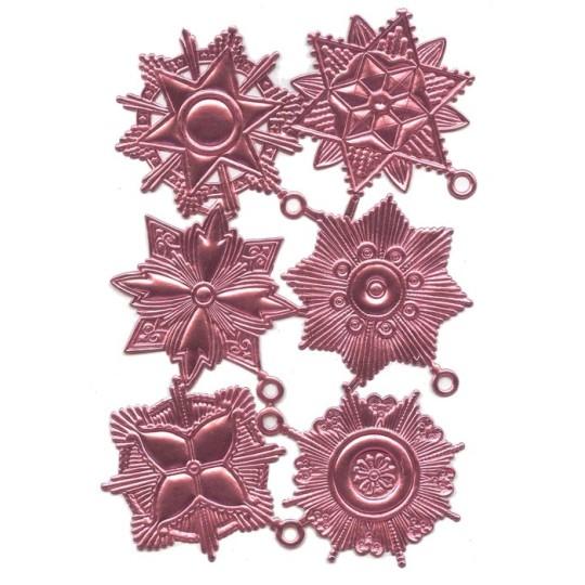 Large Pink Dresden Foil Medallions ~ 6 Assorted
