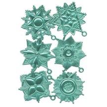 Large Aqua Dresden Foil Medallions ~ 6 Assorted