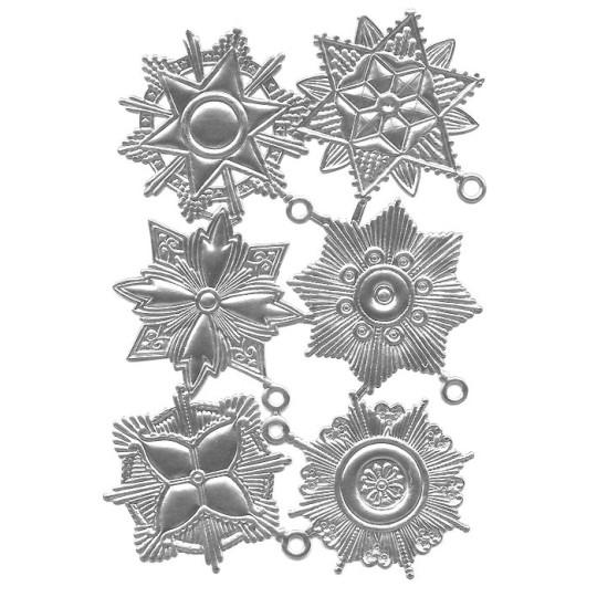 Large Silver Dresden Foil Medallions ~ 6 Assorted