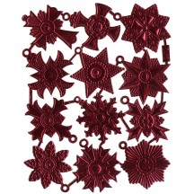 Medium Burgundy Dresden Foil Medallions ~ 12 Assorted